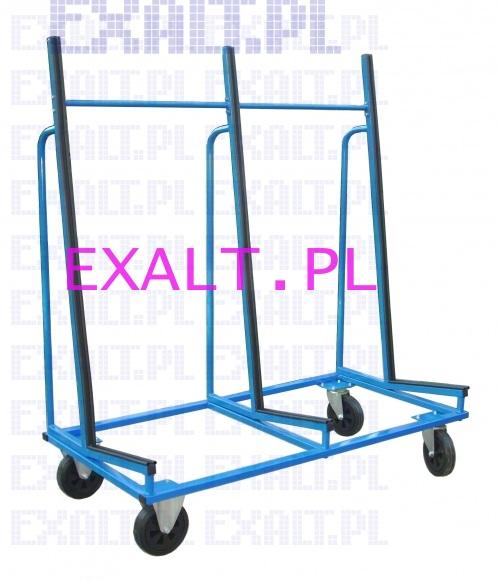 Wózek do przewożenia płyt i szyb o wymiarach dł. 1500 mm, szer. 800 mm, wys. 1750 mm na kołach bezdentkowych tworzywo-metal o średnicy 200 mm, nośność 300kg