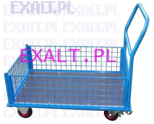 Wózek platformowy osiatkowany - wszystkie boki wyjmowane, wysokość burty 300mm, rozmiar platformy 700x450mm na kołach twardych o średnicy 100mm, dopuszczalne obciążenie 250kg