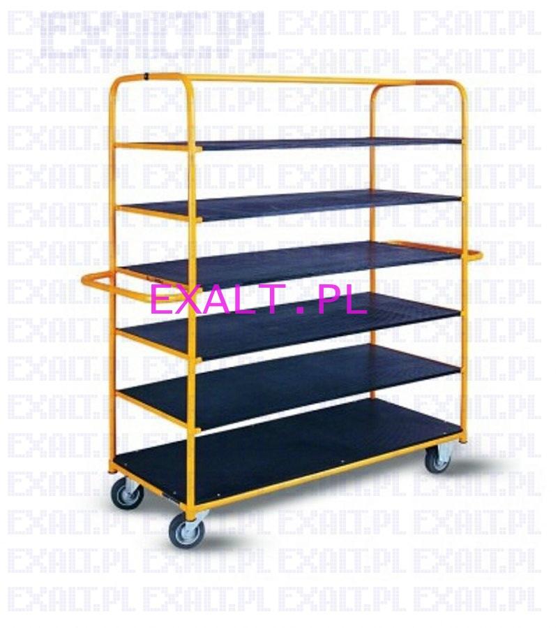 Wózek platformowy półkowy WRN2-040/34.6, wymiary 1550x700x1535mm, maksymalne obciążenie 400kg, kółka szare gumowe łożyska kulkowe o średnicy fi 125mm